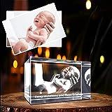 Personalizado 3D holográfico foto grabado dentro del cristal con su propia imagen (cumpleaños, regalo de boda, Memorial, Día