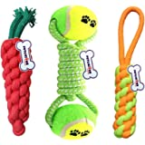 Petlicious & More Combo of 3 Durable Pet Teeth Cleaning Chewing Biting Knotted Small Puppy Toys -100% Natural & Safe Cotton (