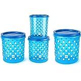 Cello Hi Fresh Safe Plastic Jumbo Container, 4 PC(Capacity - 5ltrs, 7ltrs, 10ltrs & 15ltrs), Blue