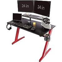 TOPSKY Gaming Tisch Zuhause Büro mit Getränkehalter Kopfhörer Haken Controller (Schwarz und Rot) (120 * 60cm, Schwarz…