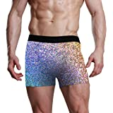 NaiiaN Slip Boxer da Uomo Bulge Pouch Ports per Uomo Ragazzo Ultra Morbido Premium Paillettes Colorate Glitter Bright Light H