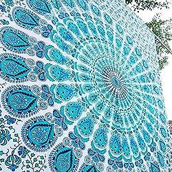 Tapiz de pared para colgar con diseño de mandala estilo hippie para el dormitorio, marca Aakriti Gallery (213,3cm x 139,7cm), 100% algodón, azul, 85x55 inches