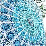 Tapisserie mandala style hippie - Décoration à suspendre au mur - 215x 140cm - Aakriti Gallery, 100 % coton, bleu, 85x55 inches