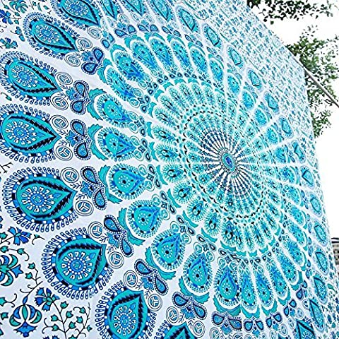 Indian-hippie Bohemian-ethnic-psychedelic Peacock-mandala Wall-hanging-tapestry-blue-green