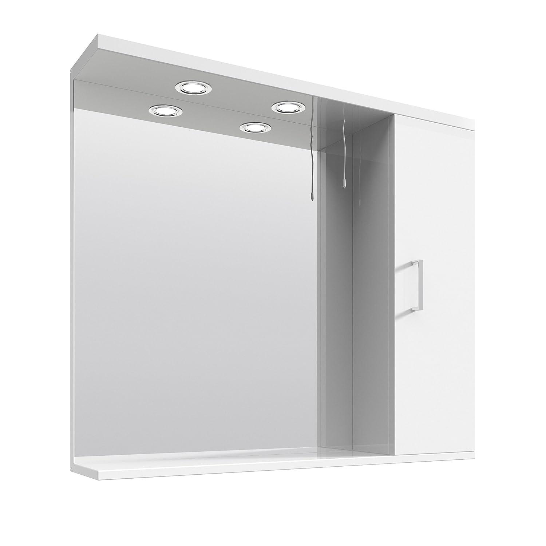 VeeBath Linx 750mm Bathroom White Gloss Mirror Storage Unit Wall
