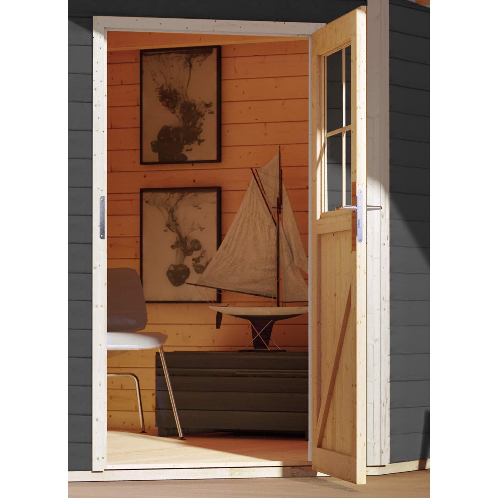 Hori® Gartenhaus I Gerätehaus Tintrup aus Holz I nordische Fichte anthrazit I 364 x 244 cm – 28 mm Bohlenstärke