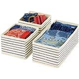 mDesign Set da 3 Organizer in stoffa – Contenitore portaoggetti in fibra sintetica per calze, biancheria, leggins, ecc. – Ver