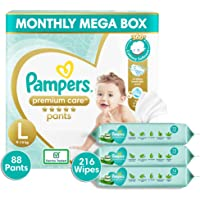 Pampers Premium Care Pants Diapers Monthly Box Pack, Large, 88 Count & Pampers Aloe Vera Baby Wipes - 72 Count (Pack of…