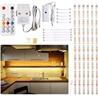 Under Cabinet LED Lighting kit, 6 PCS LED Strip Lights with Remote Control Dimmer and Adapter, Dimmable for Kitchen Cabinet,Counter,Shelf,TV Back,Showcase 2700K Warm White, Bright, Timing 9.8ft