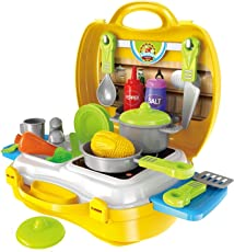 MAGNIFICO™ 26 Pieces Kitchen Set Pretend Play Toys for Girls with Suitcase Carry Case, Yellow Color