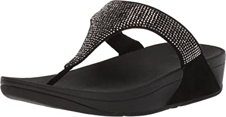 Fit Flop Women's Slinky Rokkit Toe Post Black Leather Fashion Sandals