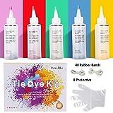 Ucradle Tie Dye Kit, 5pcs Tie-Dye Kit Fabric Textile Paints Vibrant Fabric Textile Permanent Esay use Tie Dye Art Set with 40Pcs Rubber Bands for Fashion DIY