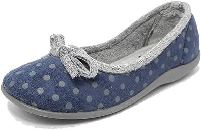 Sleepers Womens Ladies Memory Foam Slippers Pink or Blue Polka Dot Size 3 4 5 6 7 8