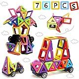 Morkka 76 stks magnetische blokken, magnetische bouwstenen, magnetische tegels voor kinderen, reisset voor peuters, educatief