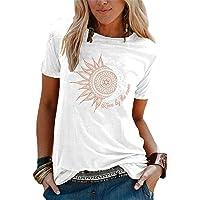 Eogrokerr - Maglietta a maniche corte, da donna, con stampa sole e luna, stile retrò, con lettera