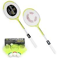 COMPASS SPORTS CS-786 Double Shaft Badminton Racket Set of 2 Piece with 3 Piece Plastic Shuttle