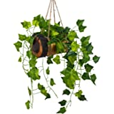 DecoreBugs Artificial Falling Leaves Hanging in Wood Buckle Pot (Height : 43 cm)
