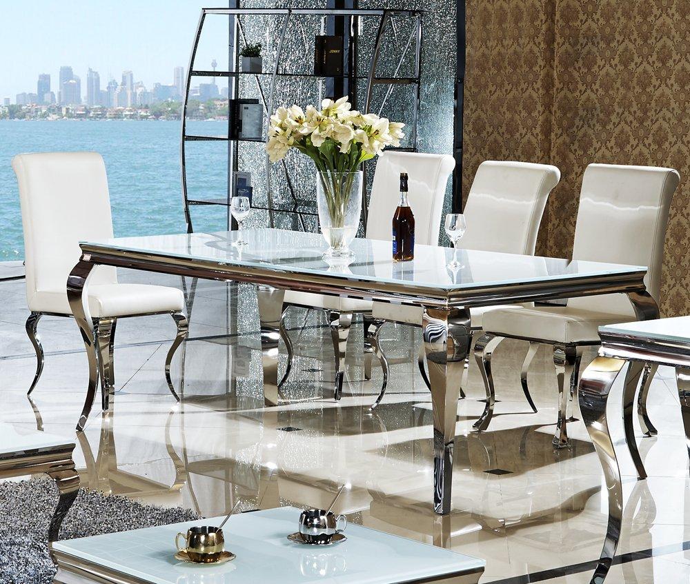 200 X 90 X 76 Cm Lara Weiß Esszimmer Designer Luxus Tisch Büro Edelstahl  Glas Barock Chrom Milchglas Schreibtisch (200 X 100 X 76, Weiß): Amazon.de:  Küche U0026 ...