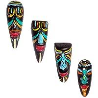 Hand Art Terracotta Handmade Home Decorative Tribal Mask Combo Wall Hanging-4 Pcs