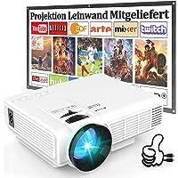 Beamer HI-04 [ Mit 100 Zoll-Leinwand ], Beamer Full HD 1080P Unterstützt, Mini Beamer 6500 Lux, Video Projektor…
