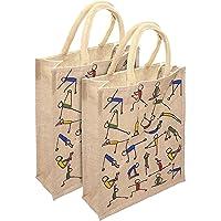 Mist Yoga Print Jute Shopping Bag Eco-Friendly Bag, 14.5x5x12 inches (Beige, 2PC 14.5x5x12) - Pack of 2 Bags