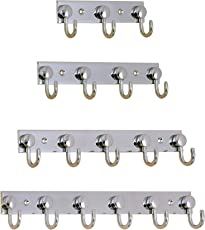ARYAN -Classic Glossy- 6 Pin Bathroom Cloth Hooks Hanger Door Wall Robe Hooks Rail for Hanging Keys,Clothes,Towel Steel Hook (1)