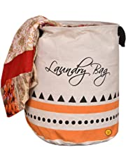 Yellow Weaves Cotton Folding Round Laundry Bag - (16x14-inches, Beige)