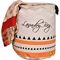 Yellow Weaves™ Laundry Basket for Dirty Clothes, Folding Round Laundry Bag (Beige Color)