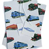 """Train Steam Engine Locomotive Gift Wrapping Paper with""""1st Class"""" Gift Tags"""