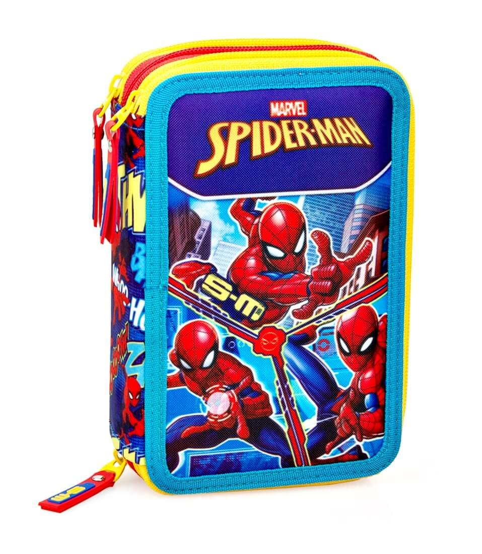 Inacio Marvel Spiderman XL Bolsa de Primavera, Bolsa de Plumas, Plumero, Caja de Lápices, Estuches, Estuche 44 Piezas