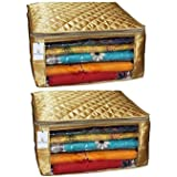 Kuber Industries™ Saree Cover Set of 2 Pcs Large Size in Golden Satin Gift