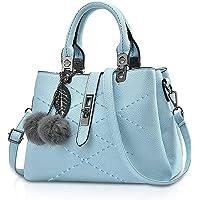 NICOLE & DORIS 2021 Neue Frauen Tasche Damen Leder Handtasche Mode Umhängetasche Mit Pompon abnehmbarem Schultergurt…