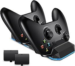 LREGO Fast Dual Ladegerät Dock für Xbox One / Xbox One S / XBox One X / XBox Elite Controller, kommt mit zwei 1200 mAh Lithium-Batterien Akku Pack