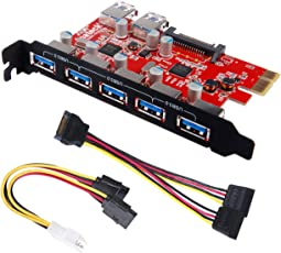 Inateck Superspeed 7 Ports PCI-E to USB 3.0 Expansion Card - Interface USB 3.0 5-Port 2 Rear USB3.0 Port Express Card Desktop with 15 pin SATA Power Connector Include with A 4pin to 2x15pin Cable A 15pin to 2x 15pin SATA Y-Cable