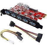 Inateck Highspeed 7 Ports PCI-E zu USB 3.0 Erweiterungskarte - 5X USB 3.0 Ports außen und 2X intern, PCI-Expresskarte mit 15 Pin SATA Anschluss, inkl. 2 Stromkabeln - KT5002