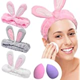 YMHPRIDE Cerchietto Spa - 3 pezzi fascia di coniglio per ragazze donne fascia elastica bella morbida Carol con set frullatore