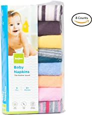 Baybee Premium Quality Baby Cotton Washcloths | Napkin Hankies for New Borns Soft Cotton Face Towels Unisex ( Random Colors ) Pack of 8