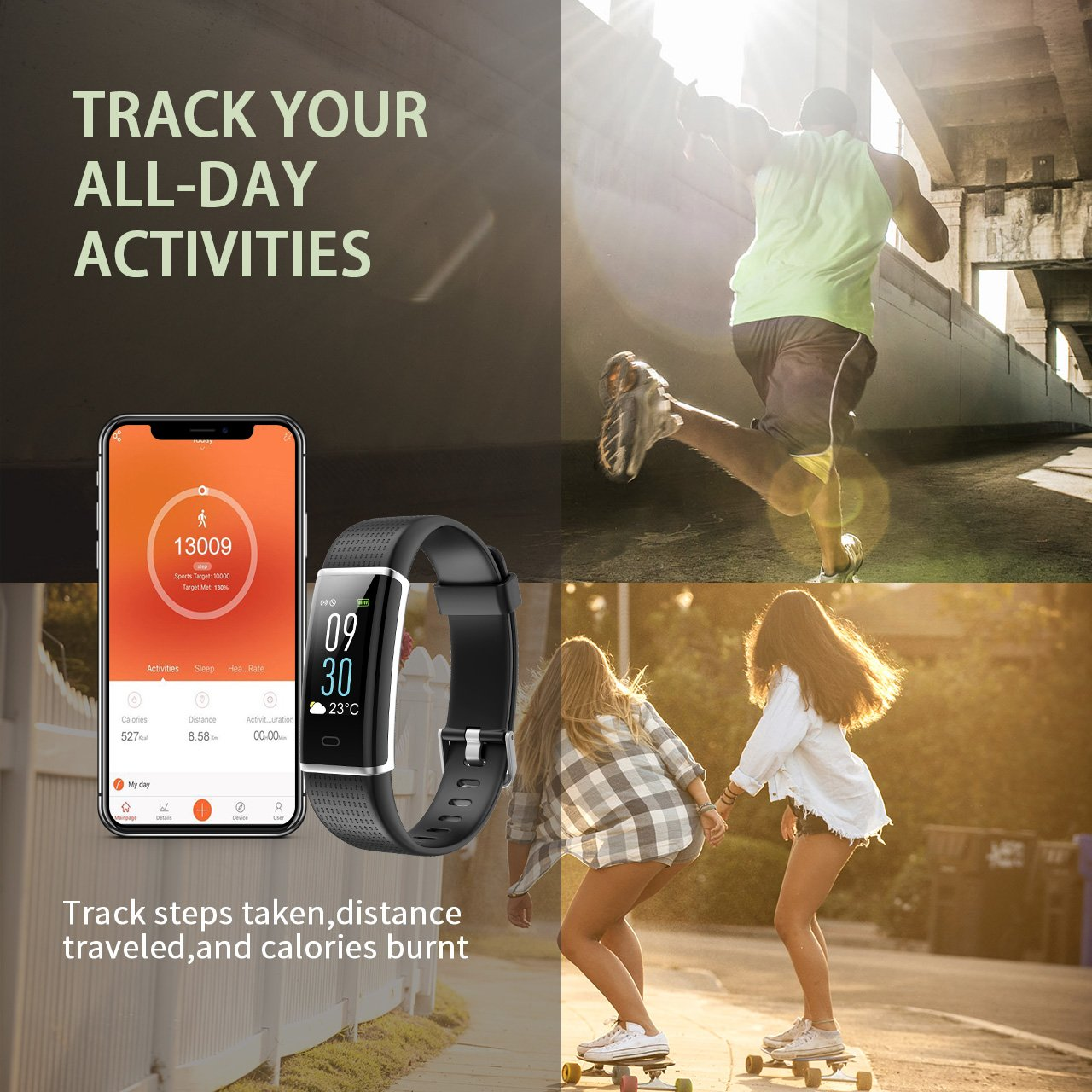 KARSEEN Fitness Tracker, Activity Tracker Fitness Watch Heart Rate Monitor  Colorful OLED Screen Smart Watch With Sleep Monitor, Step Counter, IP68