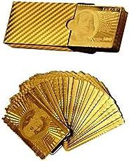 billionBAG Gold Plated Playing Cards For Magic, Poker, Teen Patti, Nightout Fun, Timepass (No.5_bb, Golden)