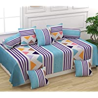 Castiqa Microfibre Unique Patterns Diwan Set Covers 8 Pieces Set of 1 Bedsheet 2 Bolsters and 5 Cushion Covers (Sky Blue)