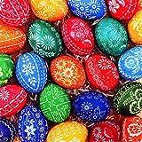 20 Servietten Viele handbemalte Eier / Ostern / Ostereier 33x33cm