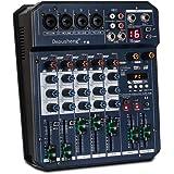 Depusheng T6 Console de mixage de carte son portable à 6 canaux Mélangeur audio 16 DSP 48 V intégré Alimentation fantôme Pris