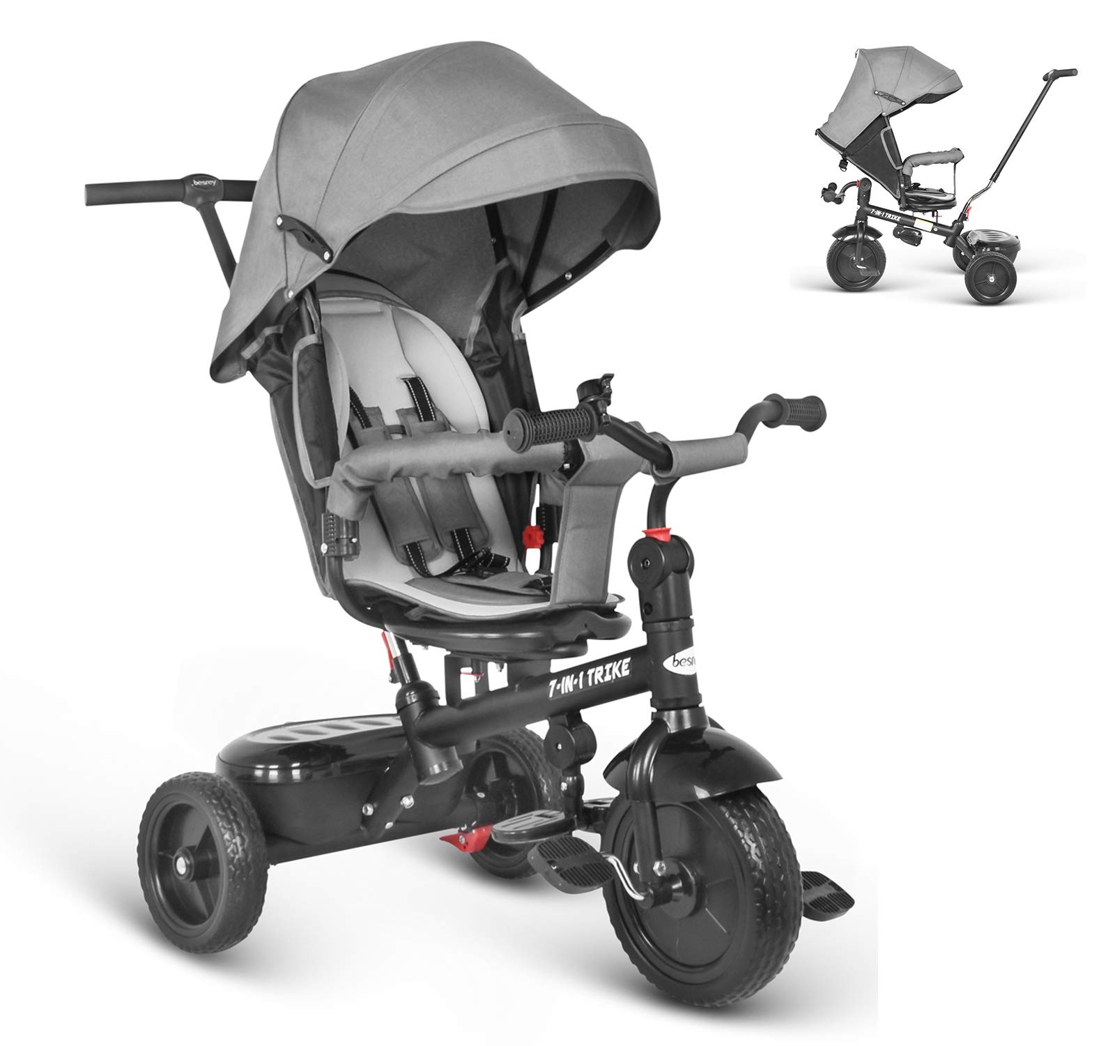 besrey 7 en 1 Triciclos Bebes reclinable con Asiento Giratorio, Triciclo para Bebe Nino evolutivo Infantil Trike…