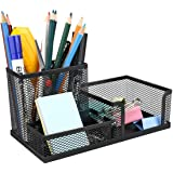 RYLAN 3 Compartment Metal Mesh Desk Organizer Pen and Pencil Stationary Storage Stand Pen, Pencil Holder for Office, Home, an