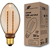 greenandco® Vintage Design LED lamp in retro stijl voor sfeerverlichting E27 B75 Edison lamp, 4W 200lm 1800K extra warm wit 3