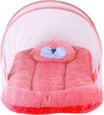 Weavers Villa Baby Mosquito Net with Bedding Set, 0-12 Months (Red)
