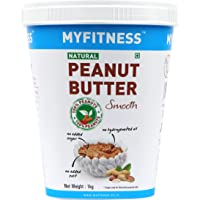 MYFITNESS Gold Natural Peanut Butter Smooth 1Kg (Unsweetened)