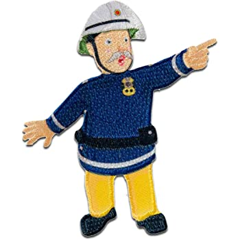 blue Fireman Sam Sam 8,3x4cm Application Embroided badge Iron on patches