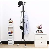 TIED RIBBONS Coat Stand Clothes Hangers Rack (175 cm x 46 cm, Black) - Heavy Duty Hanger Stand for Coat Jacket Clothes Helmet Handbags Hat Scarf Umbrellas