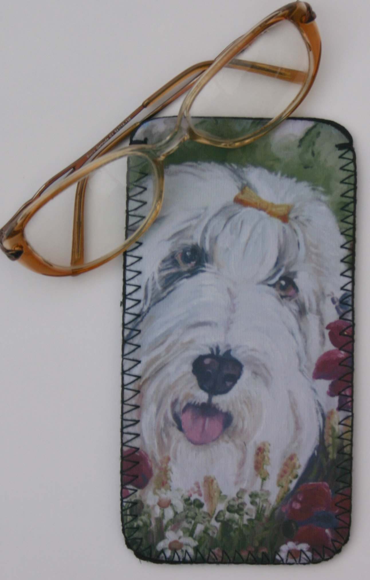 BEARDED COLLIE DOG GLASSES CASE POUCH design Sandra Coen